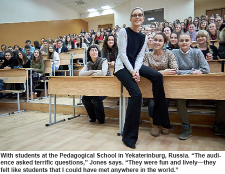 Jones with students in Russia