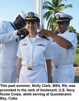 Clark's daughter promoted to lieutenant.