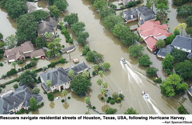 Flooded streets in Houston, Texas