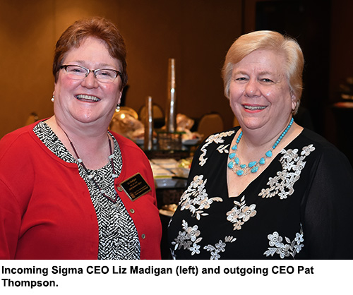 Incoming CEO Liz Madigan and outgoing CEO Pat Thompson