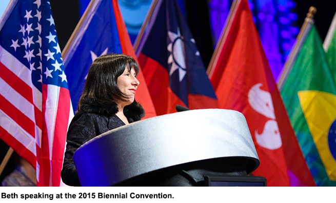 Beth speaking at the 2015 Biennial Convention.
