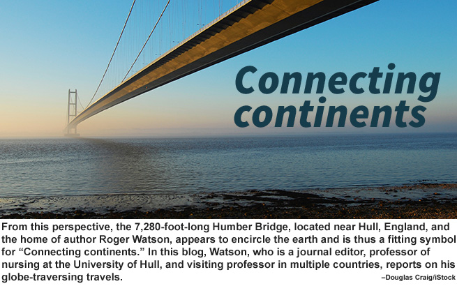 Photo of bridge with Connecting continents text