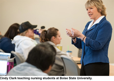Cindy Clark teaching nursing students at Boise State University.