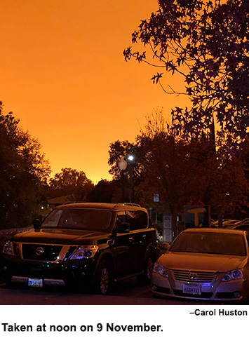 Sky glows orange from the Camp Fire