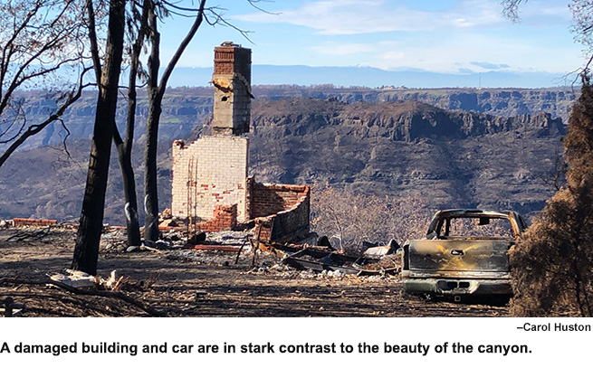 After the fire: Damaged building contrasts with beauty of canyon