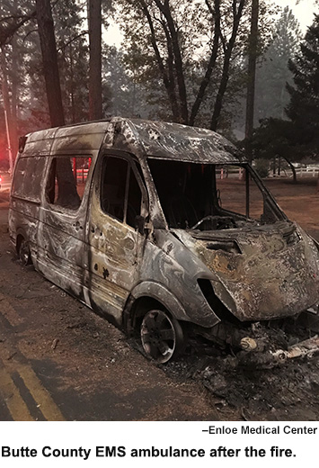 Burned ambulance after the fire