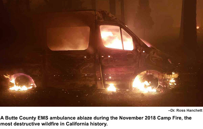 Butte County EMS ambulance ablaze.