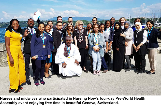 Nurses and midwives in Nursing Now's Pre-World Health Assembly